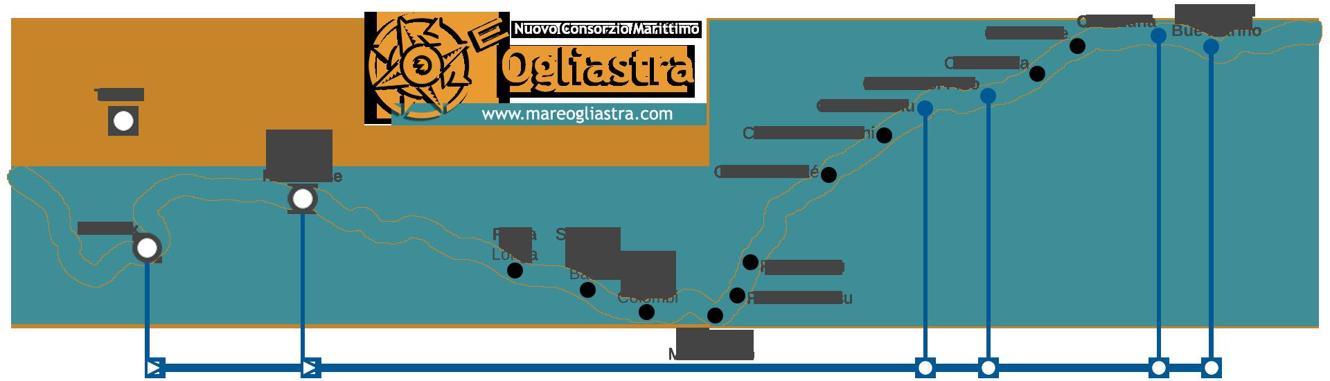 Mappa linea blu motonave Sardegna